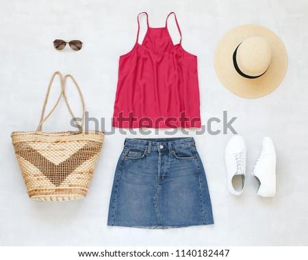 09adcfcf Pink cami top, blue denim mini skirt, straw boater hat, wicker straw bag