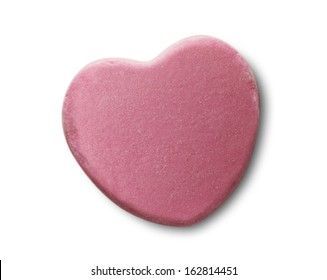 Pink Candy Valentines Heart Isolated on White Background.