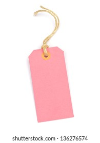 Pink cardboard tag on a white background.