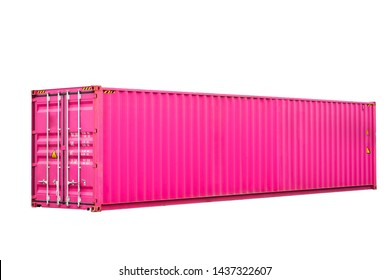 pink cargo freight container shipping on white background