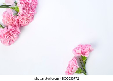 Pink carnations flower for Mother's day on white background