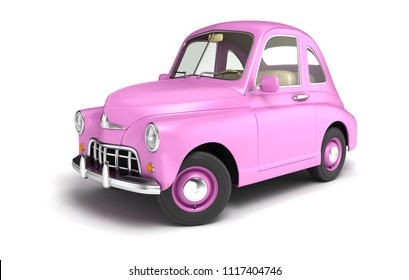 Pink cartoon car isolated on white. 3D illustration
