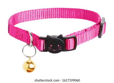 Pink cat collar with bell, isolated on white background