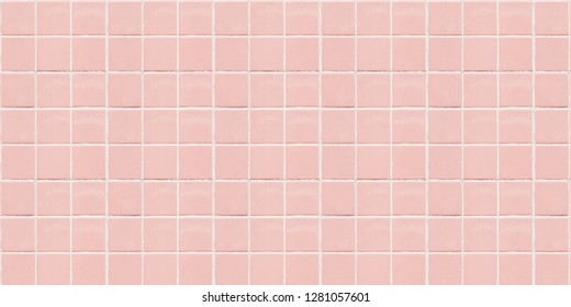 Pink ceramic square mosaic tiles texture background.