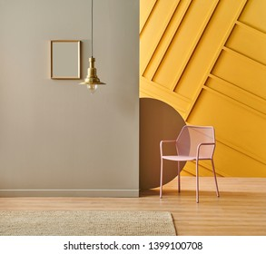 Pink chair decorative carpet and lamp decoration style in the brown and yellow style.