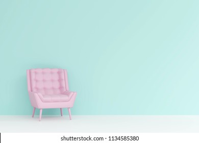 a pink chair in living room. Minimal style concept. pastel color style.