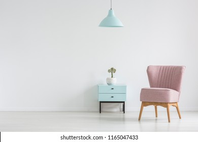 Pink chair next to cabinet with plant in apartment interior with lamp and copy space. Real photo with a place for your poster