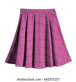 Pink checkered pleated cotton midi skirt isolated
