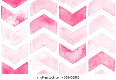 Pink Chevron With White Background Watercolor Seamless Pattern For Fabric
