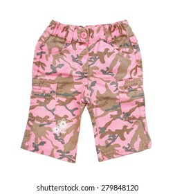 pink children's camouflage pants isolated on white background