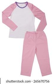 Pink childrens girls pajama set isolated on white background