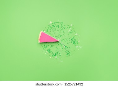 Pink chocolate mousse in pie crust slice on a green background. Just one piece of pie and grease traces. Last piece of pie. Christmas pink dessert.