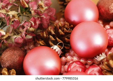 Pink Christmas decorations with big aperture