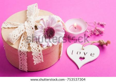 pink chrysanthemum kraft gift lit candle stock photo edit now