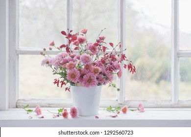 pink chrysanthemums on white old windowsill