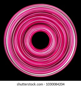 Pink circular neon glowing lines isolated on black.