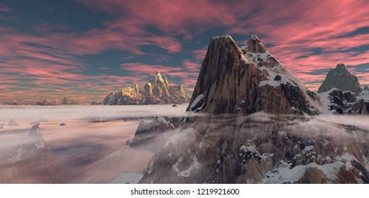 Pink cirrus clouds colors the environment all purple during sunset  with a high rocky peak in front and low hanging clouds (3D rendering)