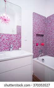 Pink and clean bathroom in the flat