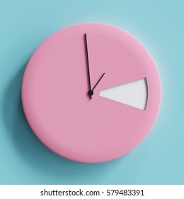 Pink clock 1.00 am on blue pastel background for copy space. minimal concept.