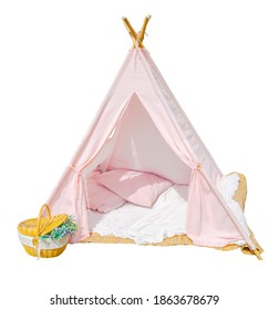 Pink cloth tent has a flower basket on the left side of the tent.  And a white backdrop