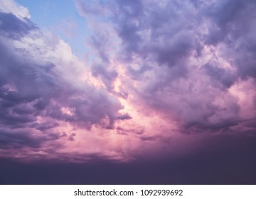 pink clouds at dusk