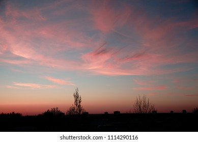 Pink clouds of interesting forms on the sunset sky