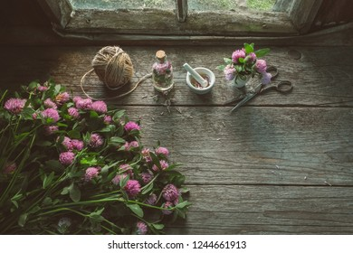 Pink clover flowers, mortars, clover tincture or infusion, scissors and jute on old wooden table inside the retro village house. Top view. Copy space for text.