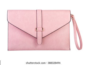 Pink clutch bag isolated on white background