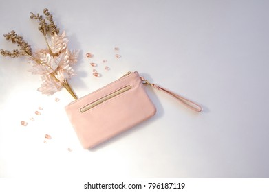 Pink Clutch with Metallic Winter Plant