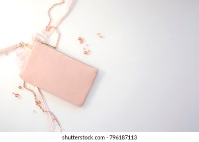 Pink Clutch Purse with Ribbon and Beads