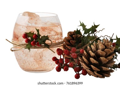 Pink cocktail with Christmas ornamentes