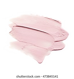 Pink color BB cream paint stroke on background