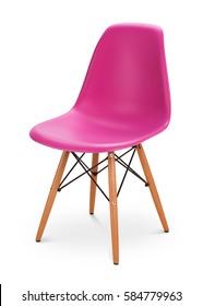 rosafarbener Farbstuhl, moderner Designer. Stuhl einzeln auf weißem Hintergrund. Möbelserie