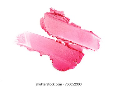 Pink color lipstick stroke for make up as sample of cosmetic product isolated on white background