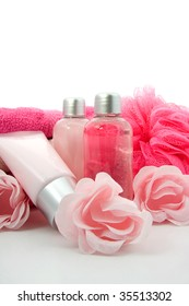 Pink colored bathroom accessory for spa
