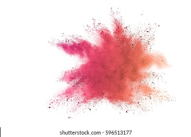 Pink colorful powder explosion on white background. Colored cloud. Colorful dust explode. Paint Holi.
