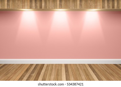 Pink colors wall & wood floor interior with light spots,3D illustration