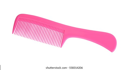 Pink comb isolated on white background