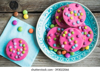 Pink cookie with smarties