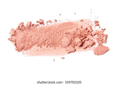 pink coral eyeshadow and blush brush stroke isolated on white background