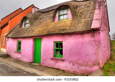 Pink cottage house in Doolin, Co. Clare, Ireland