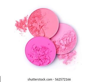 Pink crashed blush for make up isolated on white