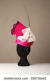 Pink and cream millinery races unique ladies hat