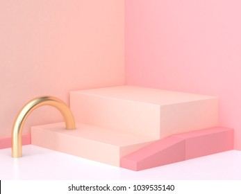 pink cream wall corner geometric abstract scene 3d rendering