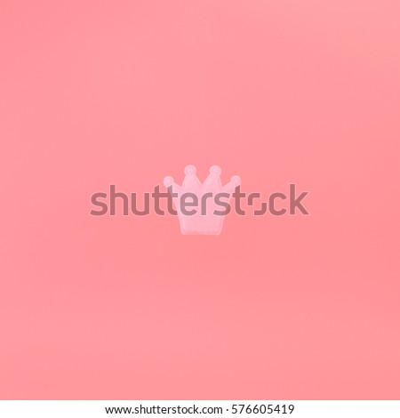 Pink Crown On Pink Background Minimal Stock Photo Edit Now