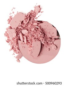 pink crumbled eyeshadow and blush on white background