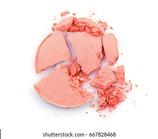 Pink crushed eyeshadow for make up as sample of cosmetic product isolated on white background