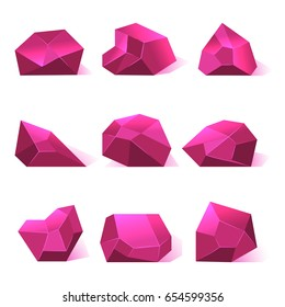 Pink crystals precious stones for game apps. Diamond for gui illustration