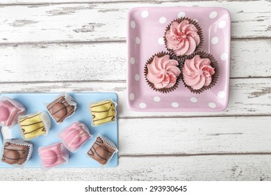 Pink Cup Cakes & French Fancies
