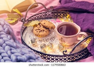 Pink cup of tea,cookies, garland and wool blanket